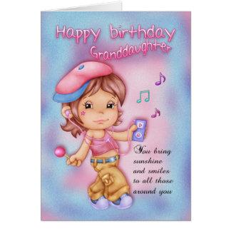 Carte Rose de joyeux anniversaire de petite-fille et