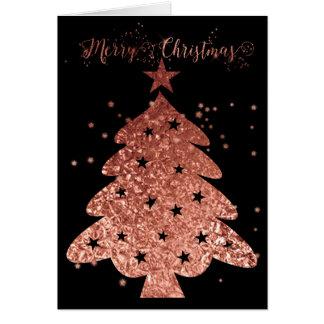 Carte Rose de Joyeux Noël et charme noir
