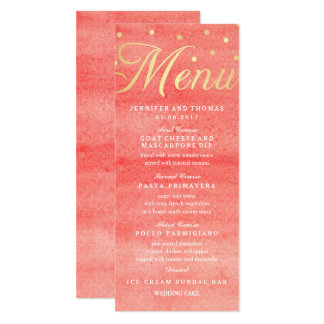 Carte rose de menu de mariage de texture carton d'invitation  10,16 cm x 23,49 cm