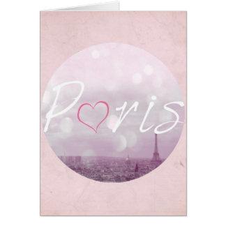 Carte Rose de Paris de coeur