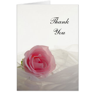 Carte Rose de rose sur le Merci blanc de mariage