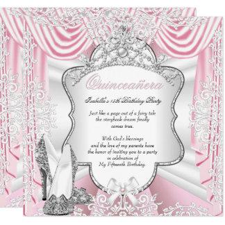 Carte Rose de soie de partie de princesse Quinceanera
