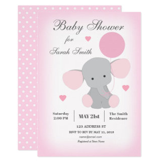 Carte Rose d'éléphant d'invitation de baby shower de
