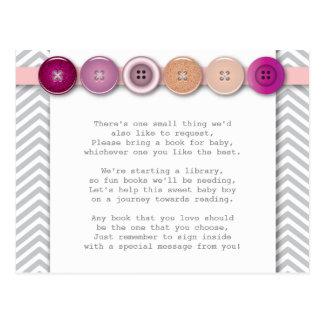 Carte rose d'insertion de bouton carte postale