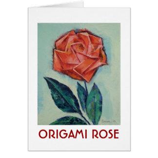 Carte rose d'origami