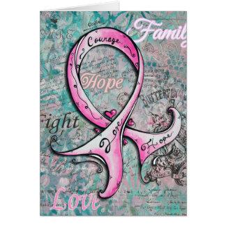 Carte rose élégante lunatique de cancer du sein de
