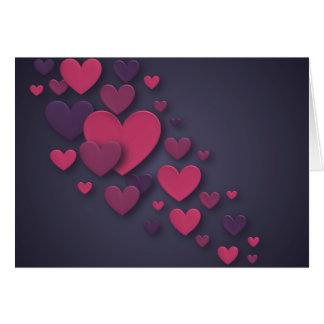 Carte Rose et coeur de cascade tridimensionnel pourpre