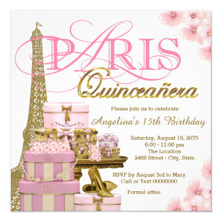 Carte Rose et or Paris Quinceanera