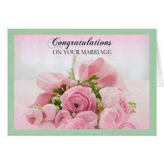 Carte rose et verte de félicitations de mariage