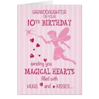 Carte Rose féerique magique de 10ème anniversaire de