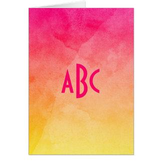 Carte Rose pour jaunir le monogramme d'Ombre d'aquarelle