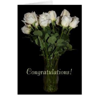 Carte Roses blancs de félicitations Vide-À l'intérieur