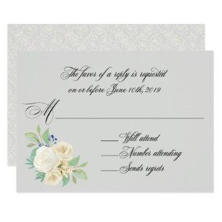 Carte Roses blancs RSVP l'épousant floral élégant