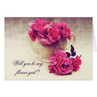 Carte Roses de thé dans une théière - demoiselle de