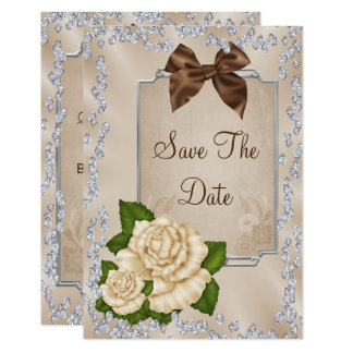Carte Roses ens ivoire élégants et économies d'arcs