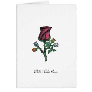Carte Roses multicolores