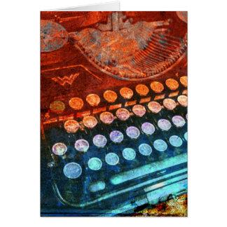 Carte Rouge bleu PopArt de machine à écrire