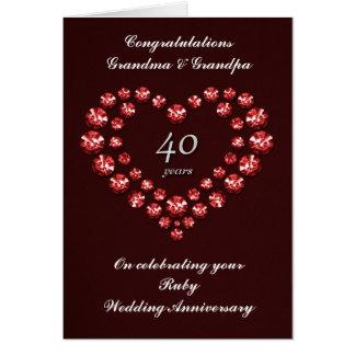Carte rouge d'anniversaire de mariage - 40 ans