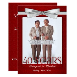 Carte rouge d'anniversaire de mariage 40-Years et blanc