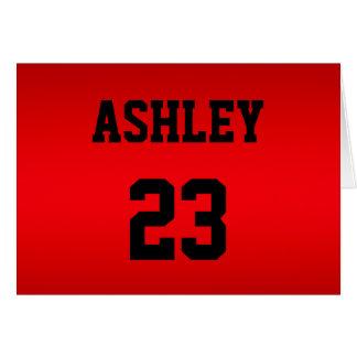 Carte Rouge de nombre du Jersey de sports et nommé