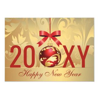 carte rouge de nouvelle année d'affaires d'or de