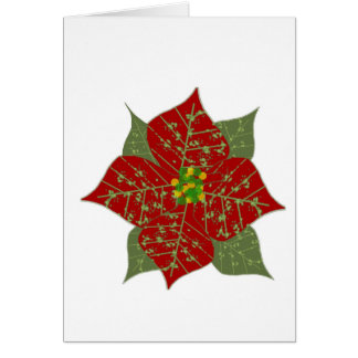 Carte rouge de poinsettia - blanc