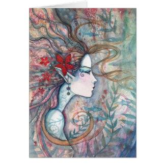 Carte rouge de sirène de fleur par l'aquarium