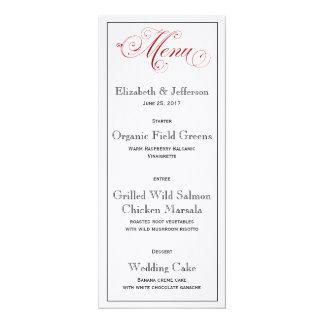 Carte rouge élaborée de menu de mariage carton d'invitation  10,16 cm x 23,49 cm