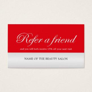 Carte rouge élégante moderne de référence d'argent