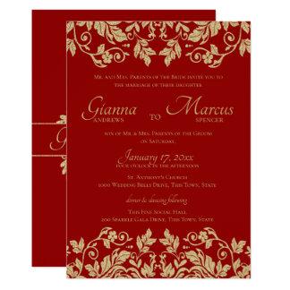 Carte Rouge et mariage d'emblème de damassé d'or