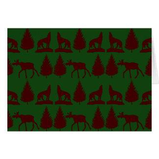 Carte Rouge foncé vert rustique d'orignaux de pins