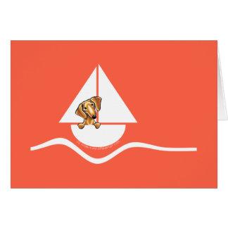 Carte Rouge rouge doux de voilier de teckel