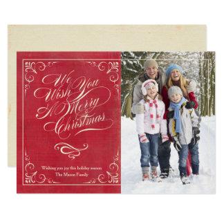 Carte Rouge vintage de Noël |