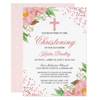 Carte Rougissent le baptême floral rose de baptême de