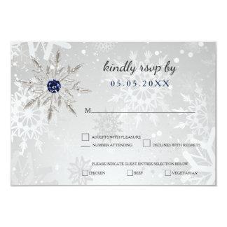 Carte rsvp argenté de mariage d'hiver de flocons de