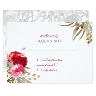 Carte rsvp floral de mariage de jolie aquarelle chic de