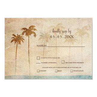 Carte Rsvp rustique de mariage de plage de palmiers
