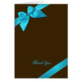 Carte Ruban de turquoise sur le blanc de Merci de Brown
