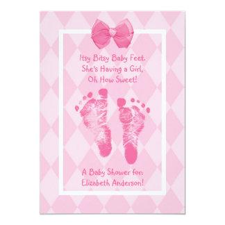 Carte Ruban mignon de rose de baby shower d'empreintes