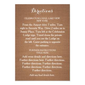 Carte rustique de directions de mariage de toile carton d'invitation  12,7 cm x 17,78 cm