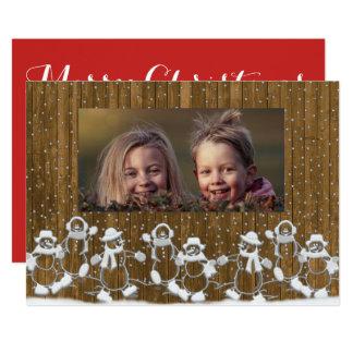 Carte rustique de Joyeux Noël de famille de Carton D'invitation 12,7 Cm X 17,78 Cm