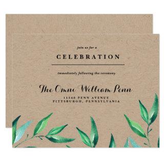 Carte rustique de réception de mariage de verdure