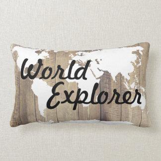 Carte rustique du monde d'explorateur du monde coussin rectangle