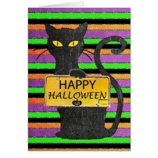 Carte rustique heureuse de signe de chat noir de