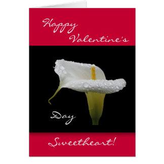 Carte Saint-Valentin - baisses de zantedeschia et de