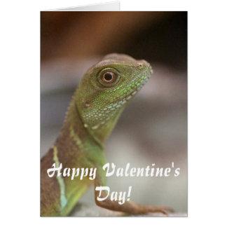 Carte Saint-Valentin de baiser d'iguane