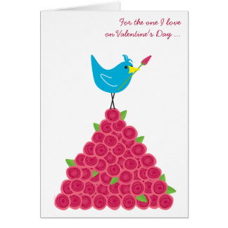 Carte Saint-Valentin l'un oiseau bleu et roses d'amour
