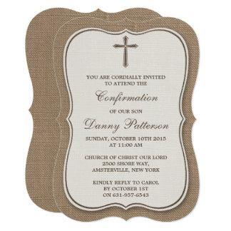 Carte Sainte communion ou confirmation rustique de croix