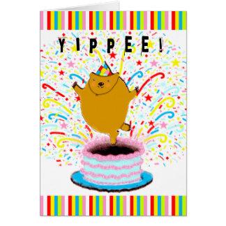 Carte salutation d'anniversaire de groundhog