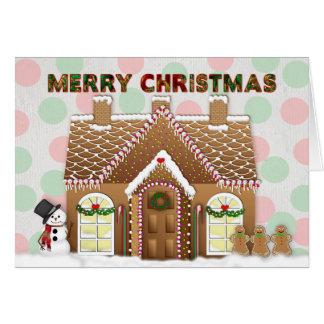 Carte Salutation de Noël de Chambre de pain d'épice